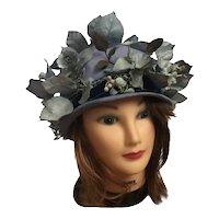 1950s Schiaparelli Whimsical Flower Garden Cloche Hat