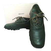 1990s Miu Miu Olive Green Leather Lace-Up Derby Shoes - 6 1/2