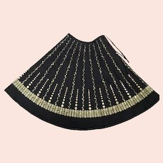 Vintage Gold-Painted Black Circle Skirt with Drawstring Waist