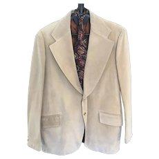 Rare 1970s Pigskin by Jimmy Dean Beige Sueded Pig Leather Sport Coat Lined Tan Suit Jacket Men's Blazer 46L