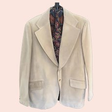 1970s Pigskin by Jimmy Dean Beige Sueded Pig Leather Men's Lined Sport Coat Blazer