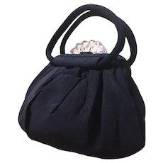 1950s Black Faille Lucite Clasp Evening Bag Vintage Handbag w/ Kisslock Coin Purse