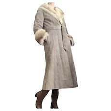 1960s Lady Western of Canada Leather Trench Coat with Rabbit Fur Trim Vintage Poor Richard's Overcoat