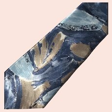 Vintage Pierre Cardin Abstract Blue & Beige Necktie Made in USA