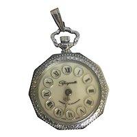 Schiaparelli Signed Silver-Tone Mid-Century Art Nouveau Swiss Made Pendant Watch