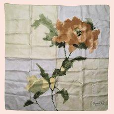 Vintage Jacques Fath Paris Mid-Century Impressionist Floral Silk Scarf