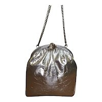 Vintage Metallic Foil Hinged Frame Evening Bag with Double Chain Strap
