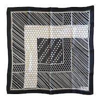 Vintage Paul Poiret Paris Geometric Black & Ivory-White Square Scarf