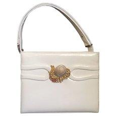 1950s Martin Van Schaak Seashell Ivory White Patent Leather Convertible Handbag Shoulder Bag