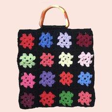 Vintage Colorful Crocheted Granny Square Tote Handbag Purse