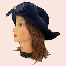 1960s Elsa Schiaparelli Paris Navy Blue Felted Wool Union Made Hat