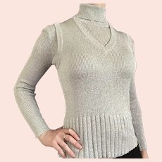 1960s Bamberger's Silver Lurex Matching Turtleneck Sweater and Vest Set
