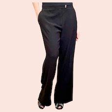 Vintage Lanvin Paris Women's Black Straight Leg Pants
