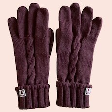 Vintage Etienne Aigner Antic Red Monogram Cable Knit and Leather Gloves