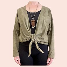1960s Anne Klein Olive Green Suede Leather Tie Front Waterfall Vintage Cardigan Jacket
