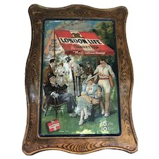 London Life Cigarette Self Framed Tin Sign