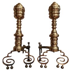 Antique Early Brass Andirons