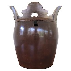 Antique Cypress Wood Chinese Rice Bucket