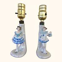 Pair Boudoir Lamps Minstrel and Ballerina