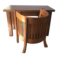 Arts and Crafts Mission Tiger Oak Desk and Chair