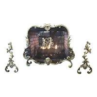 Brass Firescreen & Brass Chenets Rococo Style Brass