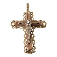 Large 14K Tricolor Gold Dimensional Crucifix