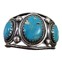 Navajo Cuff Turquoise & Silver Bracelet by Mary Chavez