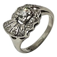 14K White Gold Diamond Art Deco Fan Pinky Ring