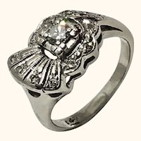 14K White Gold Diamond Art Deco Fan Pinky Ring
