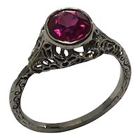 Art Deco 14K White Gold with Verneuil Synthetic Ruby