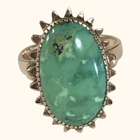 14K Gold Green Turquoise Ring