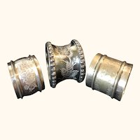 Silver Plate and White Metal Napkin Rings