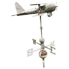 Antique Biplane Weathervane with Cardinal Points