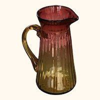 Large Antique Ribbed Amberina Glass Water Pitcher