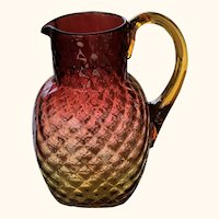 Large Antique Amberina Glass Pitcher or Jug with Diamond Quilted Pattern