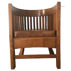 Plail Brothers Antique Arts & Crafts Barrel Back Chair