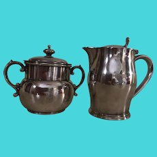 R. Wallace Silver Soldered Yale University's Creamer & Sugar Timothy Dwight College