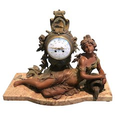 Art Nouveau French F & S Moreau Chiming Clock from 1880's
