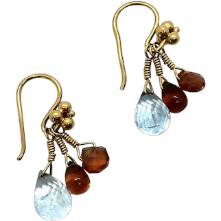 18 Kt Gold Blue Topaz and Citrine Earrings