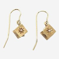 Victorian 18 Kt 14 Kt Gold and Seed Pearl Cube Earrings