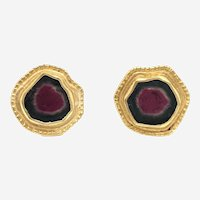 22 Kt 18 Kt Gold and Watermelon Tourmaline Earrings