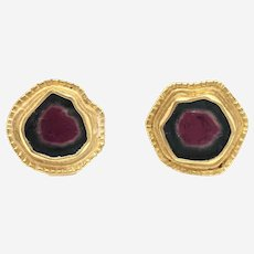Gold and Watermelon Tourmaline Earrings