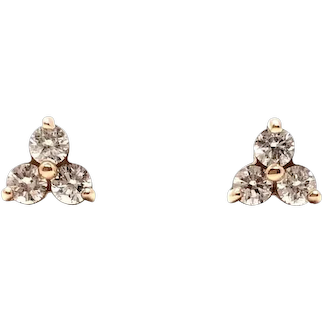 14 Kt Rose Gold and 3-stone Diamond Earrings
