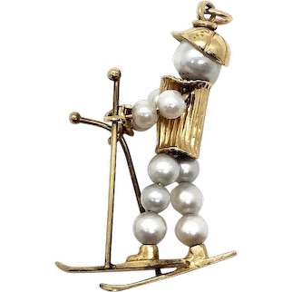 14 Kt Gold and Pearl Skier Charm