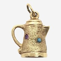 14 Kt Yellow Gold Turquoise Ruby and Sapphire Coffee Pot Charm