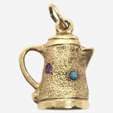 Gold Turquoise Ruby and Sapphire Coffee Pot Charm