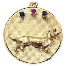 Vintage 14 Kt Gold Ruby and Sapphire Dachshund Charm