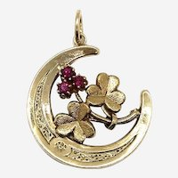 Victorian 14 Kt Gold and Ruby Crescent Moon and Clover Pendant