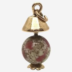 10 Kt Gold and Jasper Lamp Charm