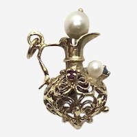 14 Kt Gold Pearl Ruby and Sapphire Fancy Ewer Pitcher Charm
